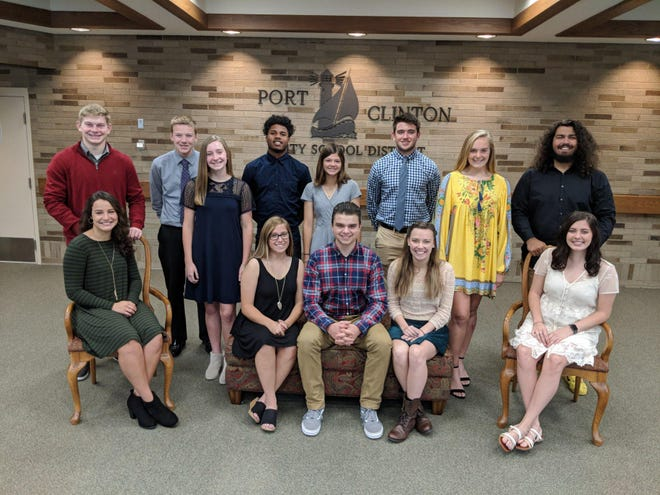 Port Clinton High School 2018 Homecoming Court: Seated Left to right,  Marisol Fick, Stacey Bragg, Riley Damschen, Alexis Yoh, and Bella Fillmore.  Standing left to right are Max Brenner, Luke Halsey, Marcella Brenner, Jonah Sidney, Averie Webb, Caden Chapman, Marie Gluth, and Reese Taylor.  Not pictured:  Dylan Johnson.