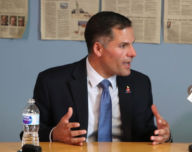 Marc Molinaro meets with the Poughkeepsie Journal editorial board Oct. 1, 2018.