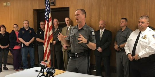 Capt. Michael Drake of the state police leads a press conference in Ulster County Tuesday regarding the capture of Joshua Stuart.
