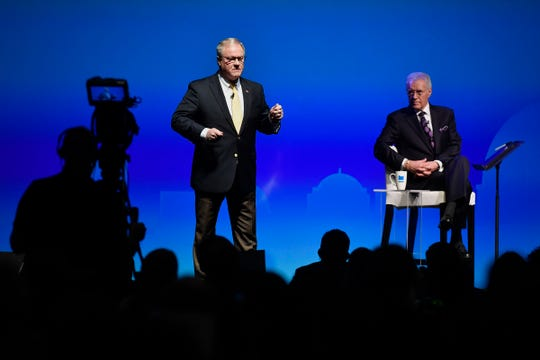 Governor Tom Wolf and Scott Wagner, Republican candidate for governor, take part in a debate moderated by Alex Trebek, Monday, Oct. 1, 2018. John A. Pavoncello photo