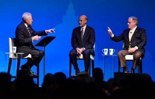 Gov. Tom Wolf and Scott Wagner, Republican candidate for governor, take part in a debate moderated by Alex Trebek, Monday, Oct. 1, 2018. John A. Pavoncello photo