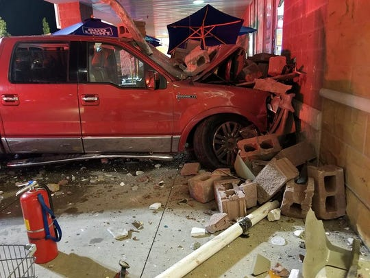 A truck crashed into the GIant in West Manchester Township Friday, Sept. 28. Photo courtesy of Joe Racette.