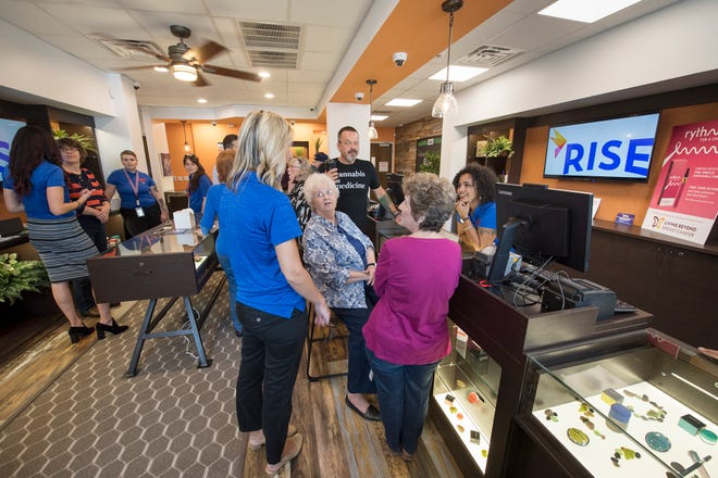 An open house in the dispensary room of the Rise medical marijuana product room in West Manchester Township Tuesday Oct. 2, 2018. There won't be actual marijuana products in the building until the opening Oct. 5, when the room will be secured access.