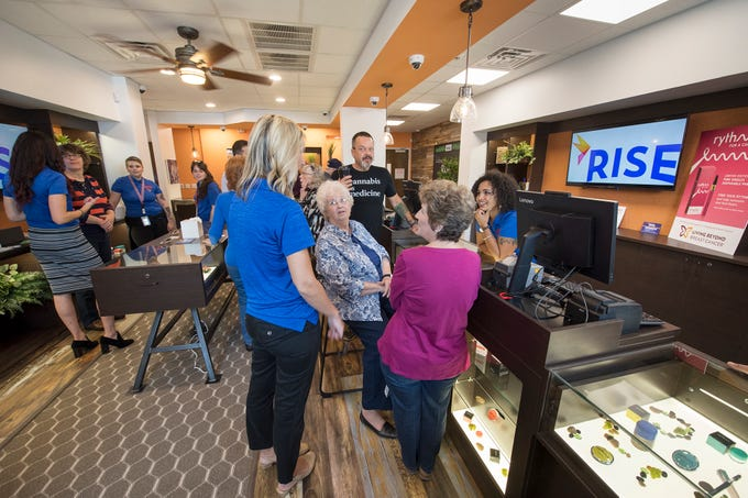 An open house in the dispensary room of the Rise medical marijuana product room in West Manchester Township Tuesday October 2, 2018. There won't be actual marijuana products in the building until the actual opening Friday, when the room will be secured access.