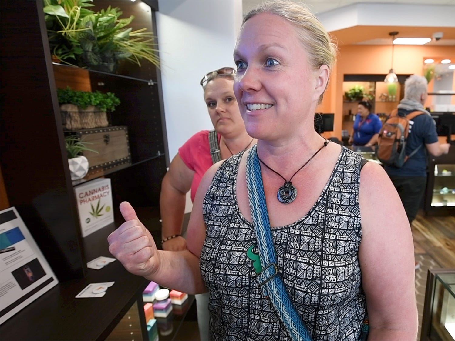 Holly Blyler, of Spring Grove, is excited during an open house for the Rise medical marijuana dispensary in West Manchester Township Tuesday October 2, 2018.