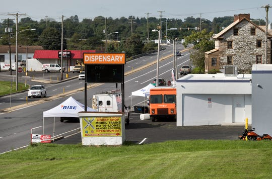 Looking west on Route 30, the Rise medical marijuana dispensary in West Manchester Township is the white building at right.