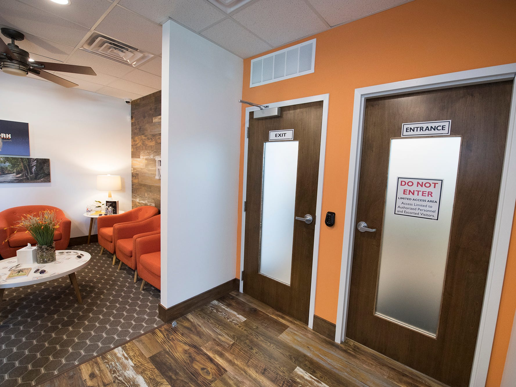 Secured entry and exit doors to the product room from the waiting room at the Rise medical marijuana dispensary in West Manchester Township.