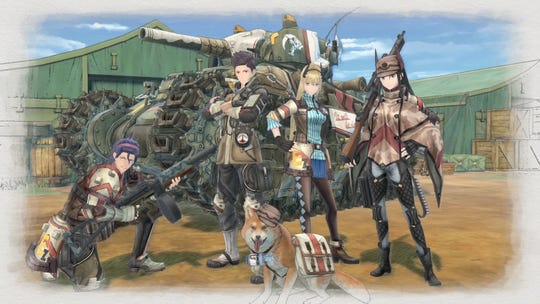 Raz, Claude, Riley and Kai stand in front of the Hafen tank in Valkyria Chronicles 4.
