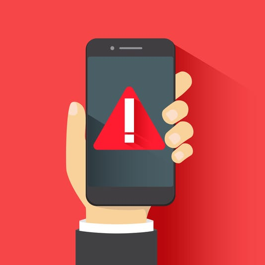 Concept Of Malware Notification Or Error In Mobile Phone Red Alert Warning Of Spam Data Insecure Connection Scam Virus