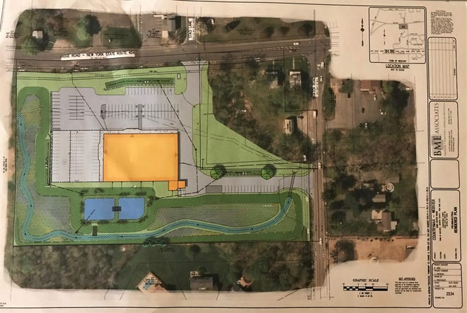 An illustration shows where a proposed 26,000-square-foot CountryMax would be built on Ridge Road in Webster.