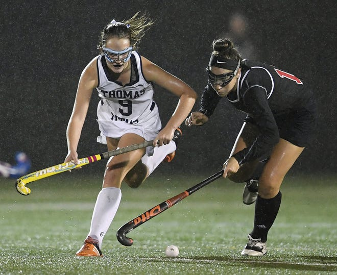 Webster Thomas' Jenna Parrish, left, and Penfield'[s Jessica Rinere challenge for the ball during a regular season game played at Webster Thomas High School, Monday, Oct. 1, 2018. Penfield beat Webster Thomas in overtime 2-1.