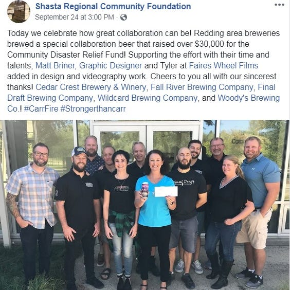 The Buzz: There's more Carr Fire relief on tap. Cheers to that!