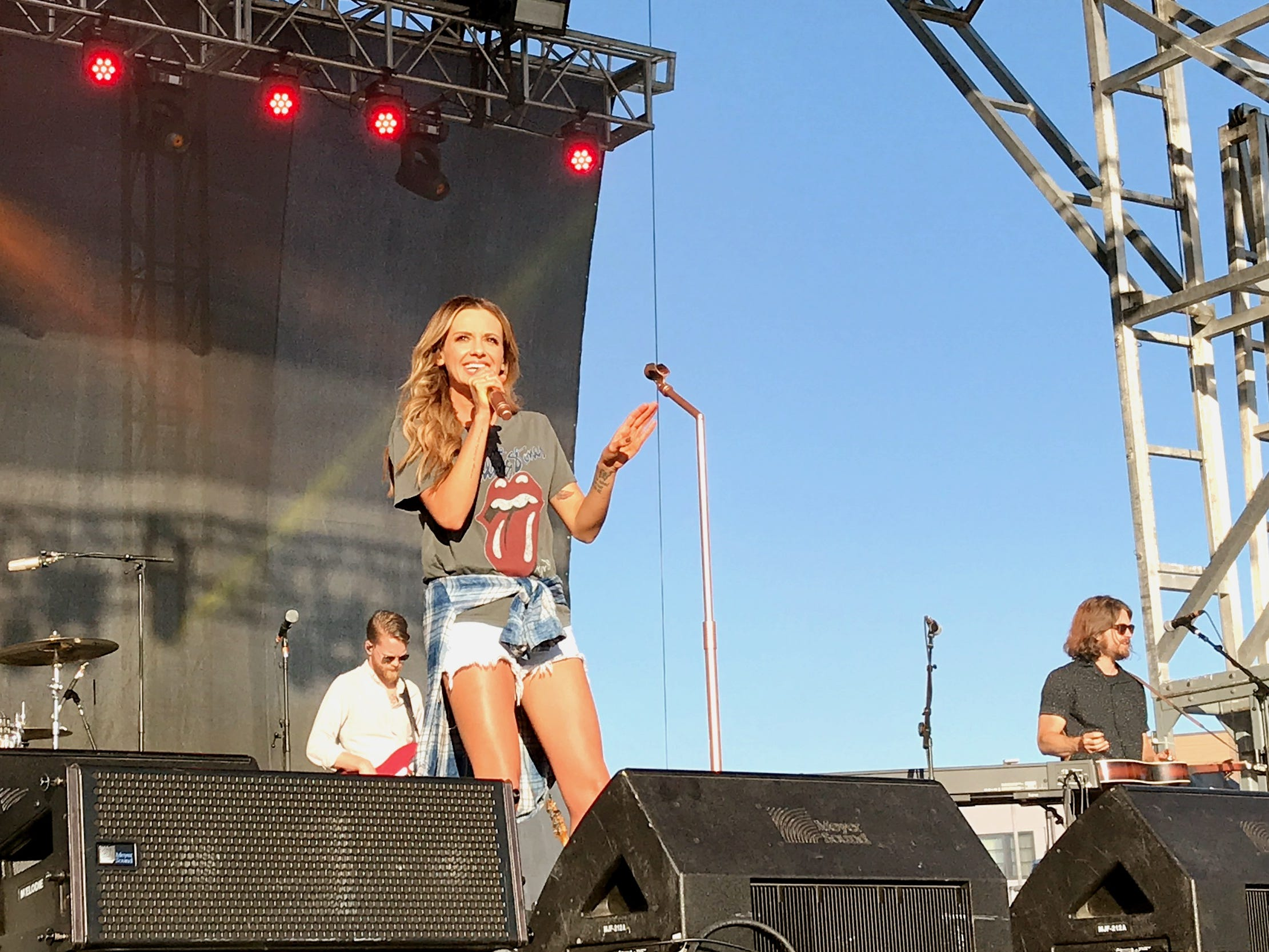 Country artist Carly Pearce performs Sunday at the Redd Sun Festival outside the Redding Civic Auditorium.