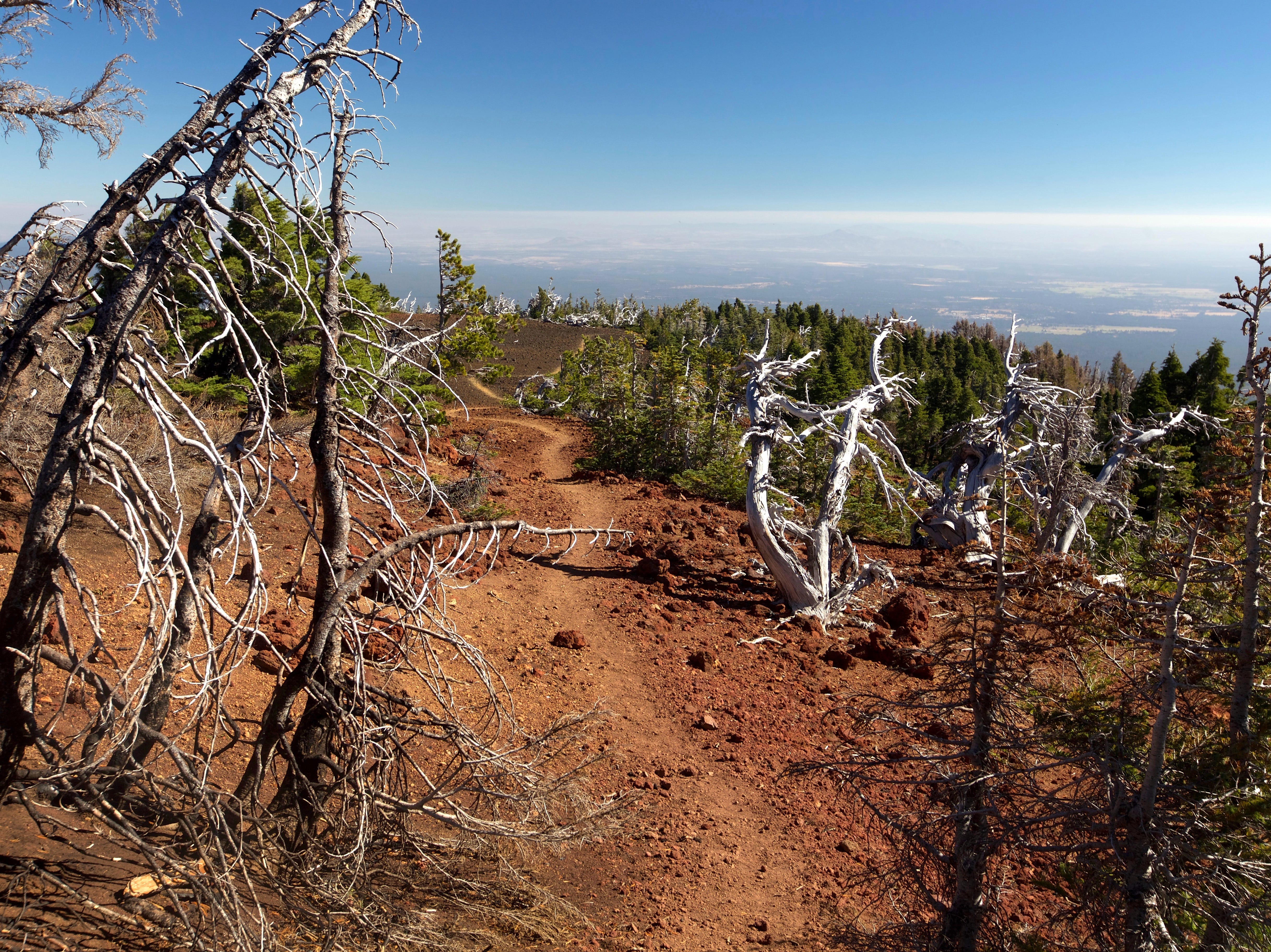 Top of Black Crater Trail with views of High Desert west of Sisters.