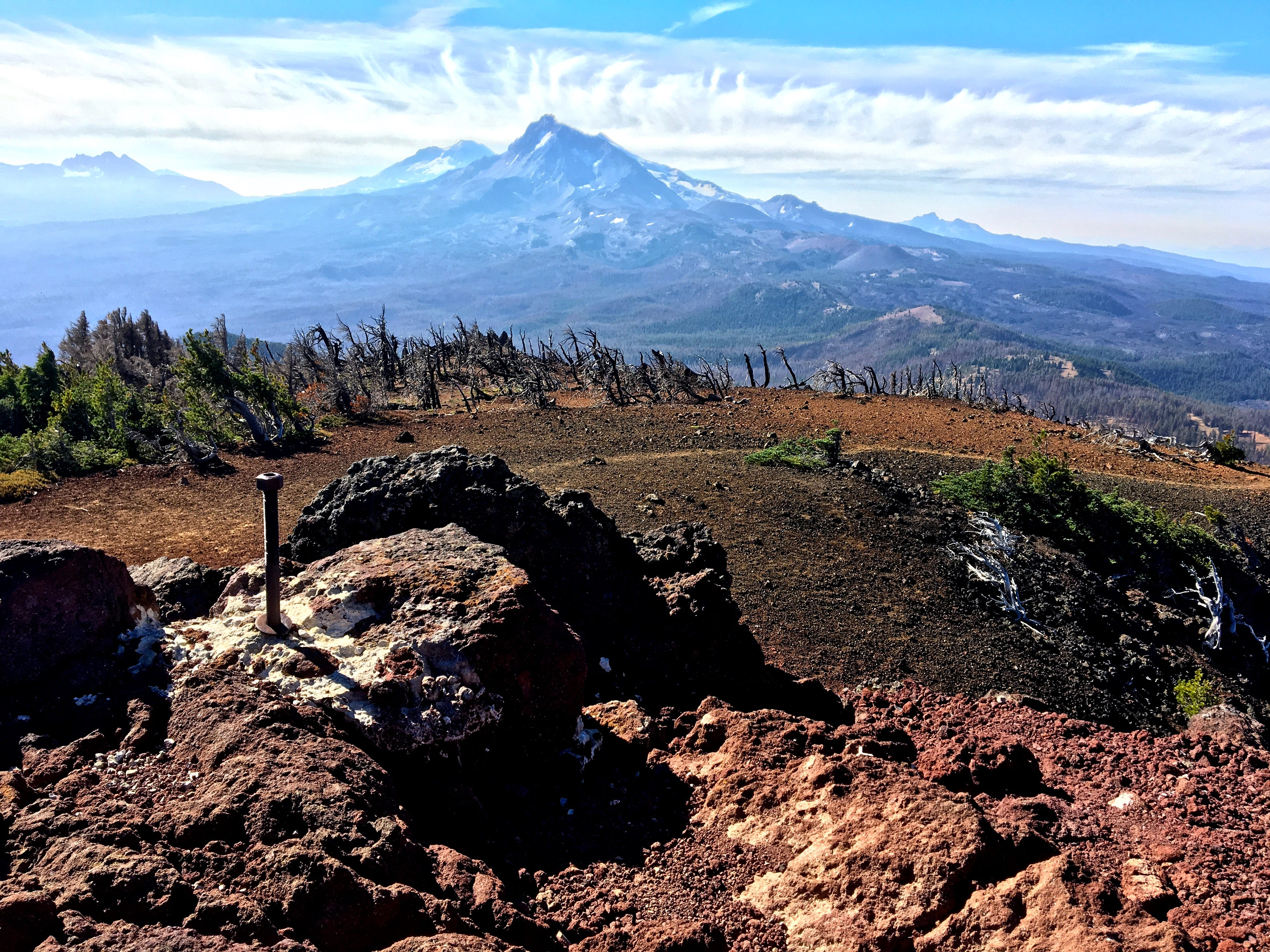 View of North and Middle Sister from the summit of Black Crater in the Three Sisters Wilderness.