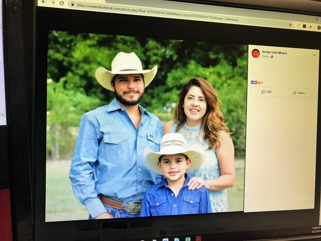 A screenshot from the So-tex Coal Miner's Facebook page shows an image of Edward Palacios (standing left alongside his wife and son), who was struck in a hit and run south of Sonora, Texas on Sept. 29, 2018. Palacios was left seriously injured.