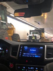 A truck carrying equipment damaged the  Chesapeake Bay Bridge-Tunnel, and the equipment blocked the tunnel. This caused traffic delays throughout the day and into the evening Monday, Oct. 1, 2018.