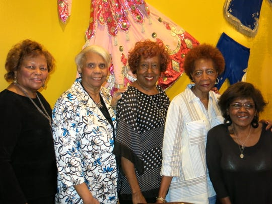 Glenda Goree, Althia Fuller, Velma Dooley, Helen King, Dessie Adgar at Alex Harris Sr.'s birthday dinner.