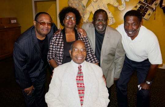 Birthday honoree Alex Harris Sr. (clockwise, from seated) and his children: Alec  Harris III, Bernita H. Stevenson, Nick Harris, Robert Harris at Alex Harris Sr. birthday fete.