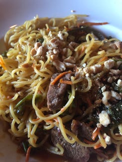 Spicy noodles at The Attic.