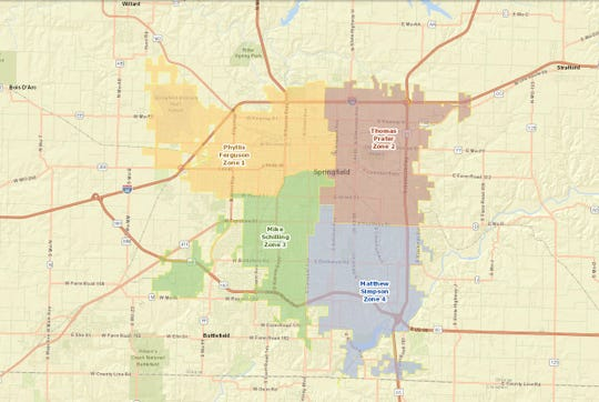 This map shows the four council zones in Springfield.