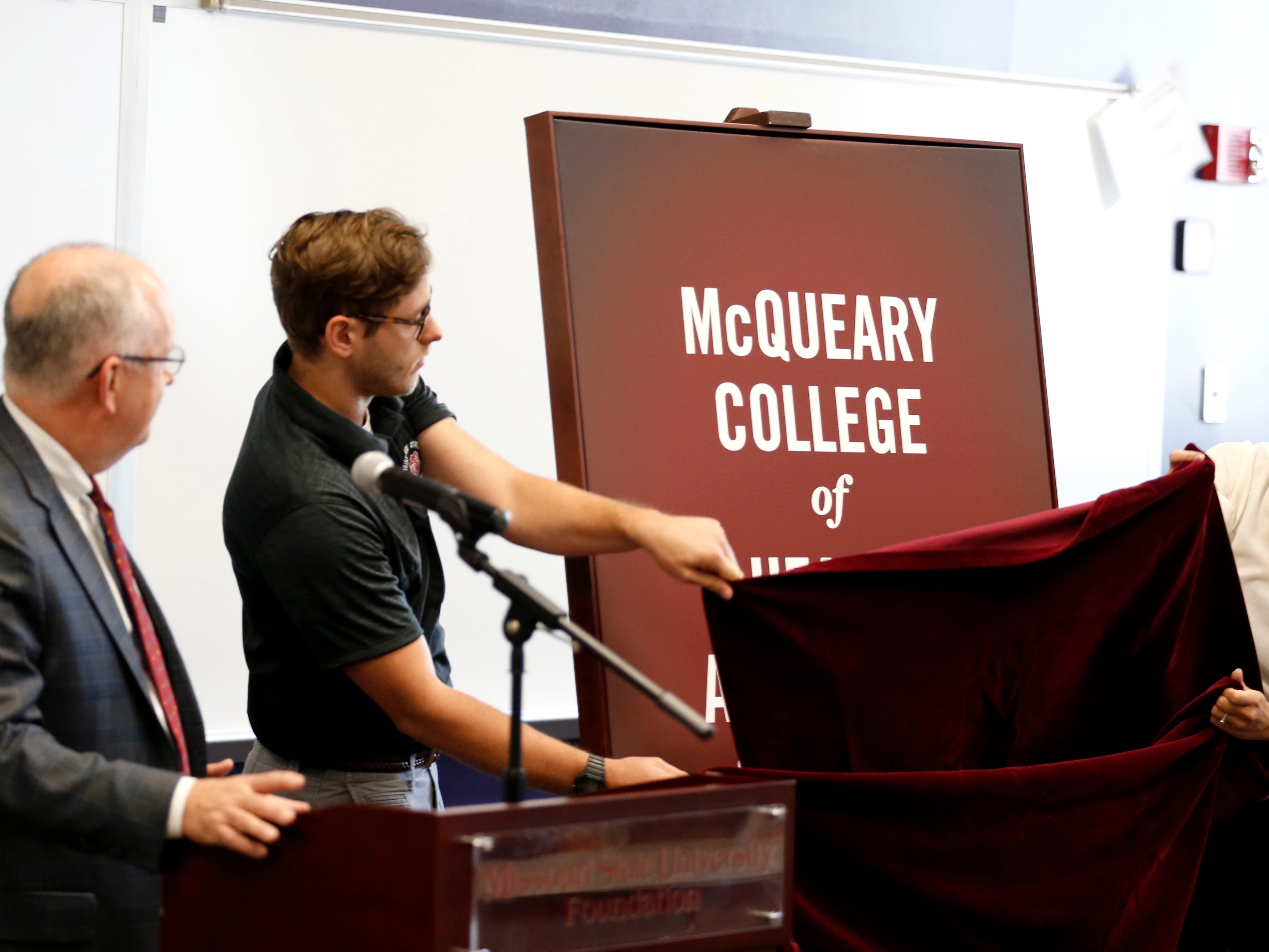 Missouri State unveils the name change of the College of Health and Human Services to the McQueary College of Health and Human Services on Tuesday Oct. 2, 2018.