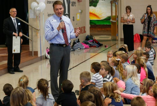 Willard Central Elementary School Principal Shane Medlin talks to students about what it means to be named a 2018 National Blue Ribbon School during an assembly at the school on Tuesday, Oct. 2, 2018.