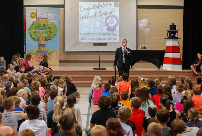 Willard Superintendent Matthew Teeter announces that Willard Central Elementary School was named a 2018 National Blue Ribbon School during an assembly at the school on Tuesday, Oct. 2, 2018.