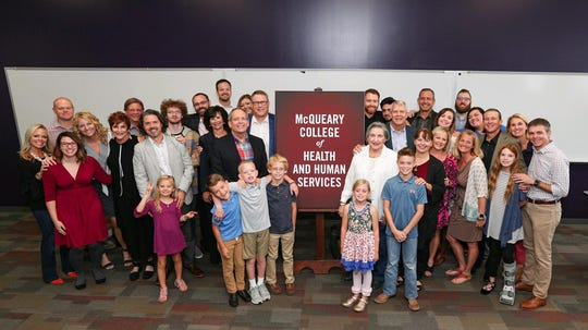 Members of the McQueary family were photographed Tuesday following an announcement at Missouri State University.