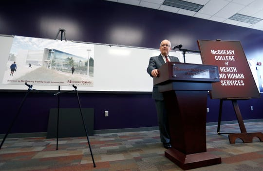Missouri State University President Clif Smart announces that it is renaming the College of Health and Human Services to the McQueary College of Health and Human Services on Tuesday Oct. 2, 2018.