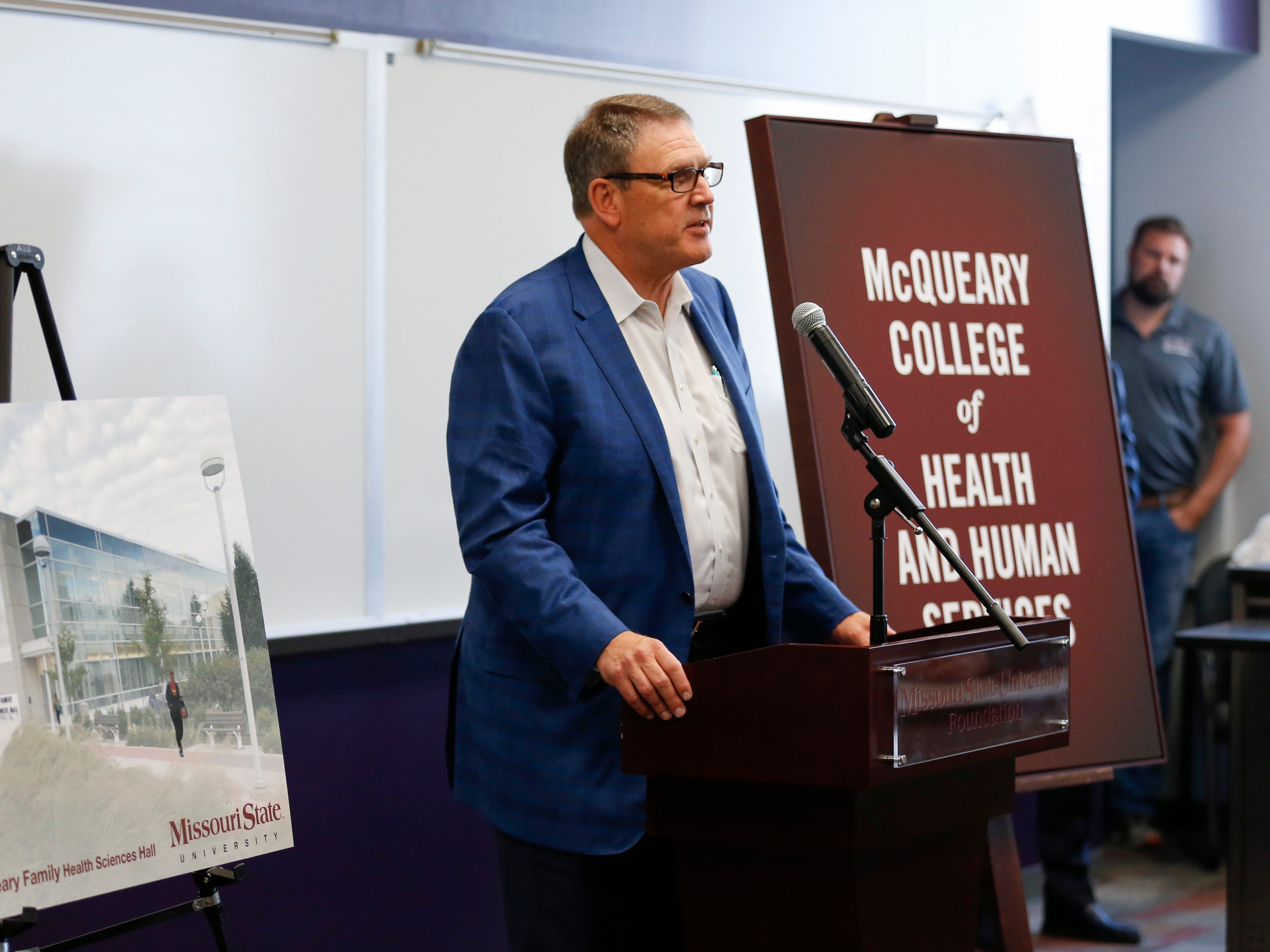 Fred McQueary speaks on behalf of the McQueary family after Missouri State University announced that it is renaming the College of Health and Human Services to the McQueary College of Health and Human Services on Tuesday Oct. 2, 2018.
