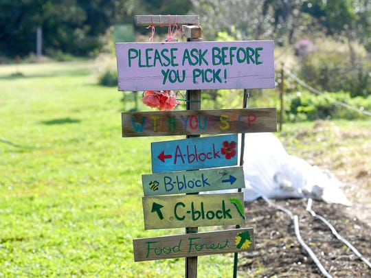 Signs point the way at Virginia School for the Deaf and Blind's educational urban farm on Monday, Oct. 02, 2018.