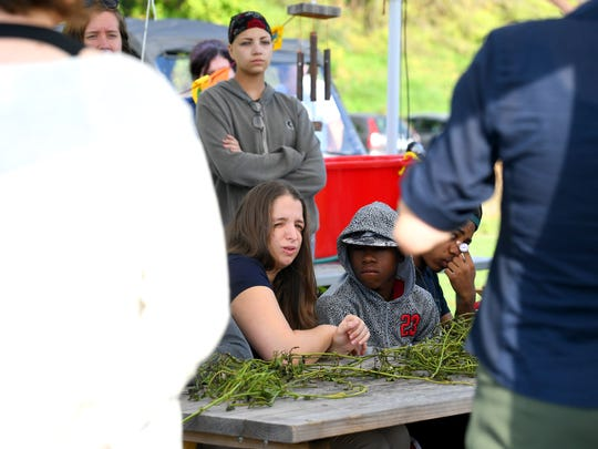 Students listen as the commissioner of the Virginia Department of Agriculture and Consumer Services addresses them at Virginia School for the Deaf and Blind's educational urban farm on Monday, Oct. 02, 2018.