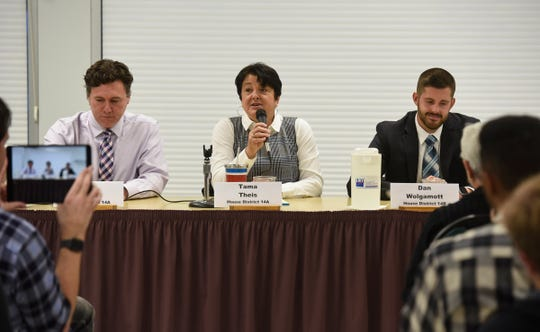 Candidate Tama Theis speaks Monday, Oct. 1, during the League of Women Voters state house 14A and 14B debate in St. Cloud.