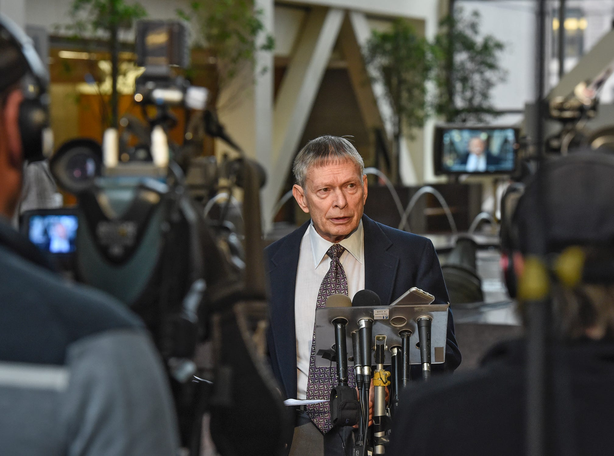 Retired FBI agent Steve Gilkerson speaks to the media during a press conference Tuesday, Oct. 2, at the Hennepin County Government Center in Minneapolis. Gilkerson addressed topics raised in the Jacob Wetterling investigation following the release of investigative files last week.