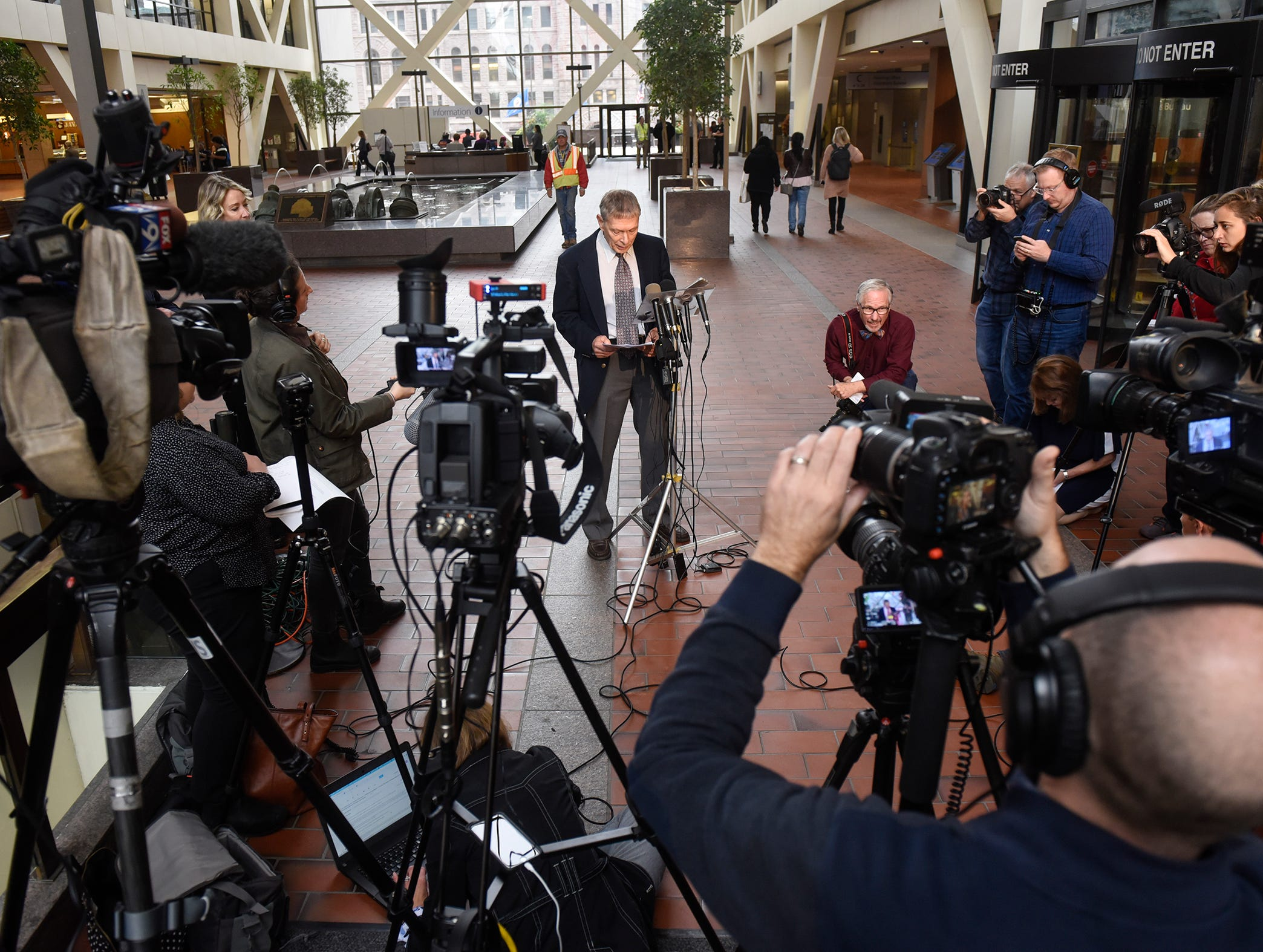 Former FBI agent Steve Gilkerson speaks during a press conference Tuesday, Oct. 2, at the Hennepin County Government Center in Minneapolis.