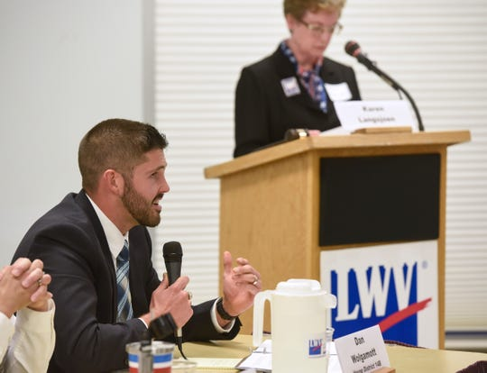 Candidate Dan Wolgamott speaks Monday, Oct. 1, during the League of Women Voters House 14A and 14B debate in St. Cloud.