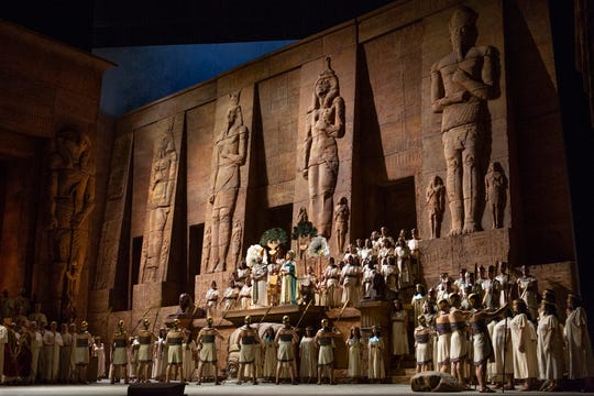 "A scene from Act 2 of Verdi's ""Aida."" The popular opera is showing in St. George this weekend for the first in a series of high-definition simulcasts that broadcast the live show from New York in theaters around the world."