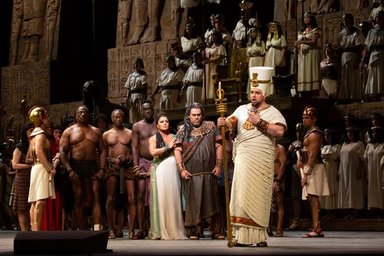 """Anna Netrebko as Aida, Quinn Kelsey as Amonasro, and Dmitry Belosselskiy as Ramfis in Verdi's """"Aida."""" The popular opera is showing in St. George this weekend for the first in a series of high-definition simulcasts that broadcast the live show from New York in theaters around the world."""