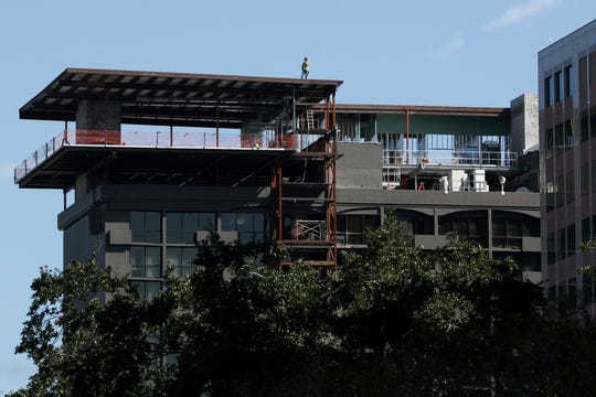 Construction continues on the 7,500-square foot, 17th floor addition to the DoubleTree by Hilton Hotel in Tallahassee, Fla. Tuesday, Oct. 2, 2018.