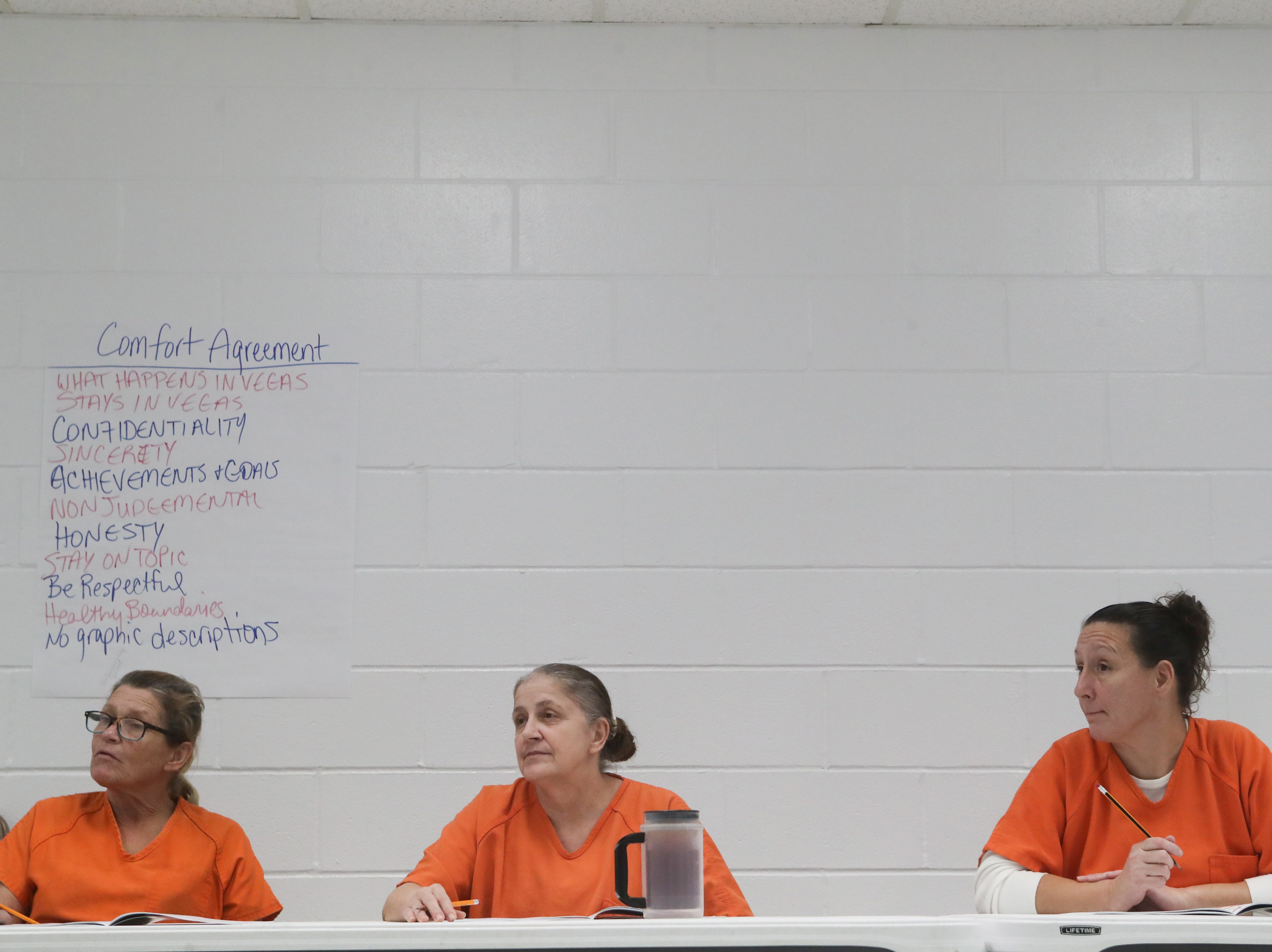 Donna Needer, Tina Davis and Tonya Seamon, inmates at the Franklin County Jail listen during a substance abuse counseling class by DISC Village at the jail in Eastpoint, Fla. Thursday, Oct. 27, 2018.