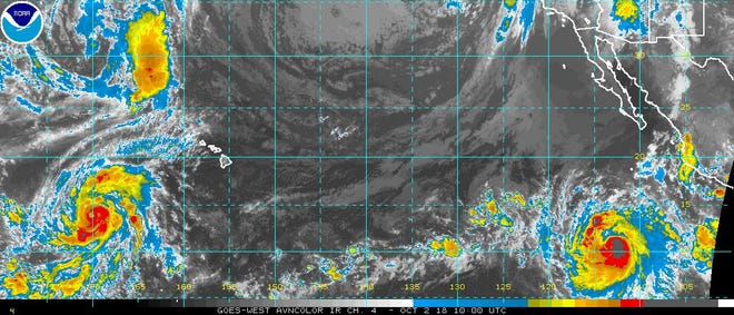 Tropical conditions in Pacific 6 a.m. Oct. 2, 2018.