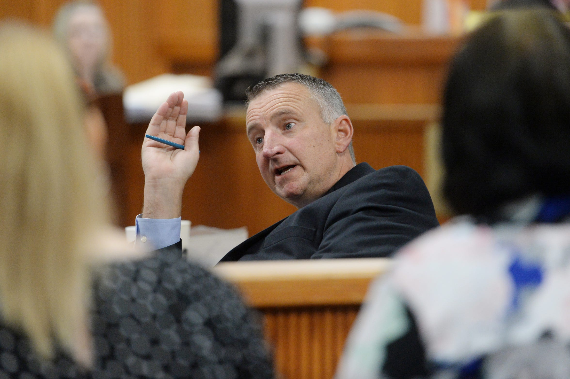 Chief Assistant State Attorney Tom Bakkedahl sits in court waiting for the start of the second day of the resentencing hearing of convicted juvenile killer Tyler Hadley on Tuesday, Oct. 2, 2018 at the St. Lucie Courthouse in Fort Pierce. Bakkedahl questioned the medical examiners that performed the autopsies on Hadley's parents, Blake and Mary Jo, which included graphic color photos of their bodies and sketches of their injuries.