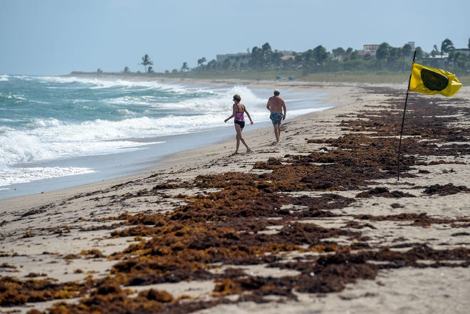 Beachgoers are few and far between Tuesday, Oct. 2, 2018, at Bathtub Reef Beach in Stuart. Martin County beaches were left unguarded Sunday afternoon after lifeguards began coughing due to a possible airborne irritant.