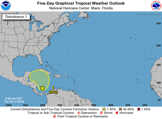 Tropical disturbance in Caribbean 2 a.m. Oct. 2, 2018