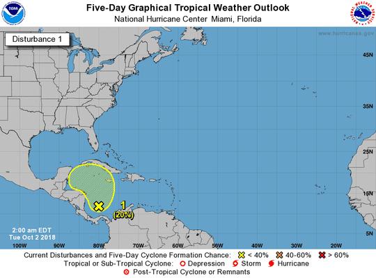 Tropical disturbance in Caribbean 2 a.m. Oct. 2, 2018
