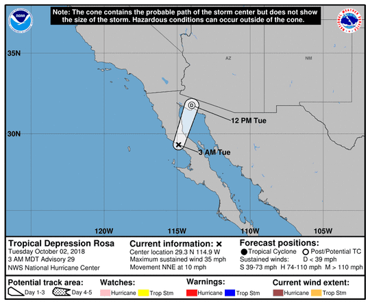 Tropical Depression Rosa 5 a.m. Oct. 2, 2018