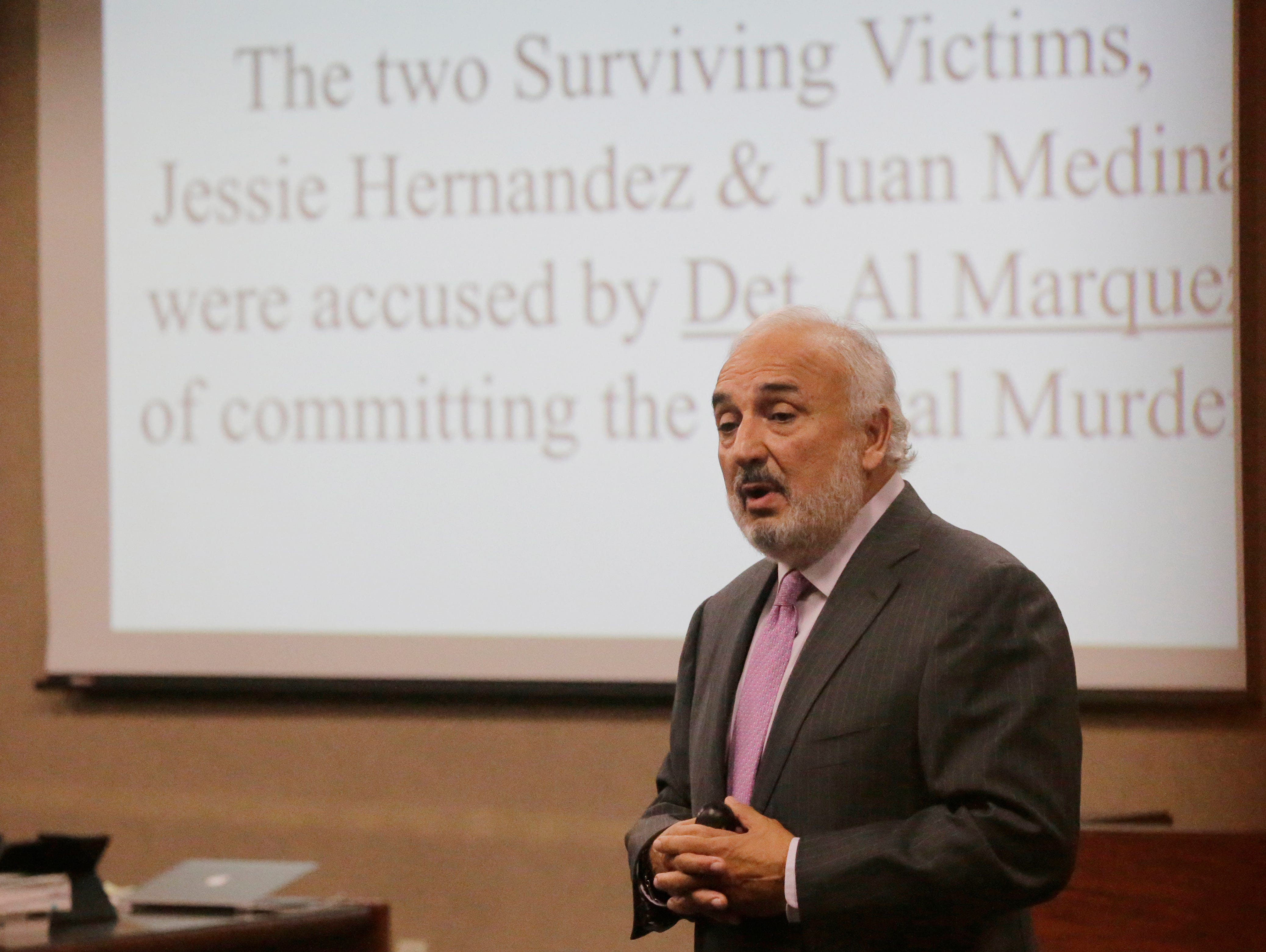"""Joe Spencer, attorney for Daniel Villegas, begins giving his opening remarks to the jury during the opening day of the trial. El Pasoan Daniel Villegas who is charged with Capital Murder in connection in the 1993 deaths of Armando """"Mando"""" Lazo and Bobby England is starting his third trial in connection with the shootings. Villegas, who was 16 years old at the time, was allegedly a member of a street gang that shot at four teens, fatally striking Lazo and England on April 10, 1993"""