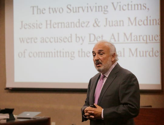 "Joe Spencer, attorney for Daniel Villegas, begins giving his opening remarks to the jury during the opening day of the trial. El Pasoan Daniel Villegas who is charged with Capital Murder in connection in the 1993 deaths of Armando ""Mando"" Lazo and Bobby England is starting his third trial in connection with the shootings. Villegas, who was 16 years old at the time, was allegedly a member of a street gang that shot at four teens, fatally striking Lazo and England on April 10, 1993"