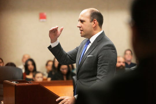 "James Montoya, Assistant District Attorney begins giving his opening remarks to the jury during the opening day in the trial of El Pasoan Daniel Villegas who is charged with Capital Murder in connection in the 1993 deaths of Armando ""Mando"" Lazo and Bobby England. Villegas, who was 16 years old at the time, was allegedly a member of a street gang that shot at four teens, fatally striking Lazo and England on April 10, 1993."